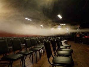 Smoke wafts over empty chairs in the SPARK event rental space in Bellingham.